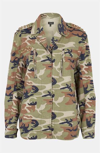 Topshop Studded Camo Jacket