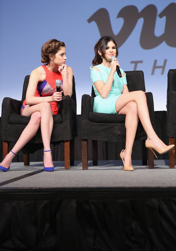 Ashley Benson and Selena Gomez took the stage for the Spring Breakers press conference at SXSW.