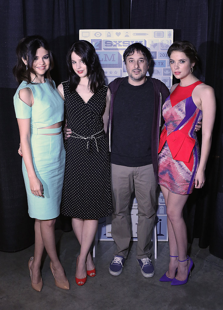 During a SXSW photocall, the Spring Breakers crew — Vanessa Hudgens had to skip due to illness — stepped out in a trio of light, airy Spring dresses. More specifically, Selena Gomez wore a mint Cushnie et Ochs number with nude Giuseppe Zanotti pumps, Rachel Korine accented red peep-toe heels with a polka-dotted dress, and Ashley Benson chose a multicolored minidress and purple ankle-strap pumps.