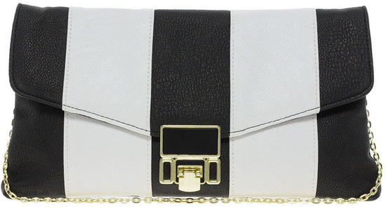 River Island Black And White Stripe Lock Clutch