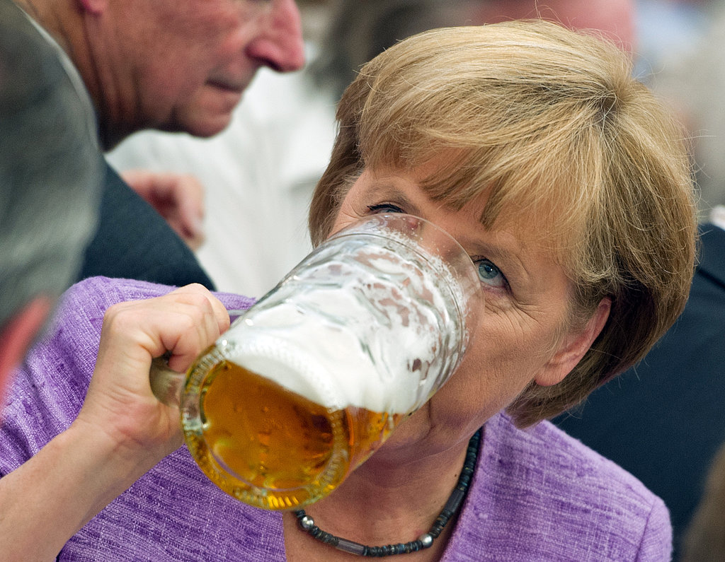 """German Chancellor Angela Merkel attended the annual """"political morning pint"""" event in 2012."""
