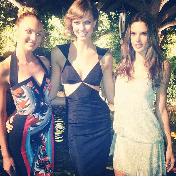 Candice Swanepoel, Karlie Kloss, and Alessandra Ambrosio sported sexy cocktail dresses to celebrate the launch of Victoria's Secret's swimwear collection. Source: Instagram user alecambrosio