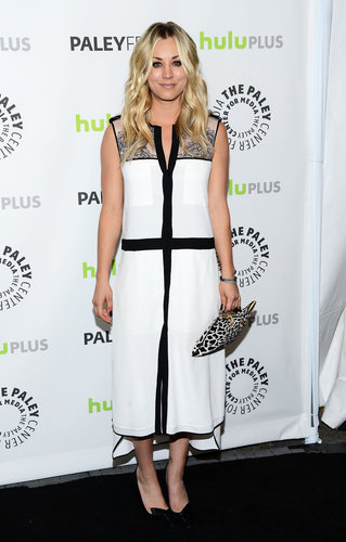Kaley Cuoco donned a loose-fitting black and white BCBG Max Azria Spring 2013 dress with black pumps and a black and white printed clutch at the 30th annual PaleyFest in Beverly Hills, CA.