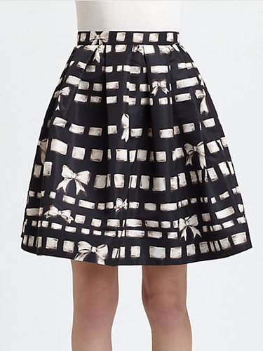 RED Valentino Printed Bow-Detail Skirt