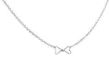 Jane Hollinger Tiny Bow Heart Necklace in Silver