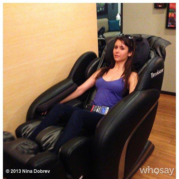 Stressed much? Nina Dobrev got a sweet massage backstage at Conan. Source: Instagram user ninadobrev