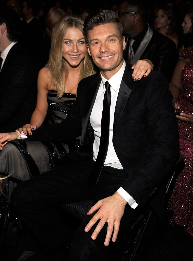Ryan Seacrest and Julianne Hough cozied up in the audience at the 2012 Grammys.