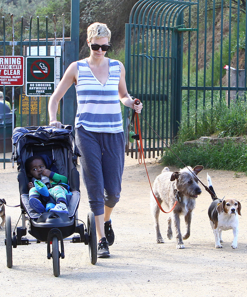Charlize Theron handled a stroller and a few dogs.