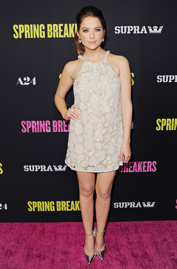 Ashley Benson went the minidress route, thanks to a halter-style Armani number, at the LA premiere of Spring Breakers. But don't get us wrong; her short-dress look didn't skimp on the glamour. She styled the look with cool circle earrings and mirror-metallic Monika Chiang pumps.