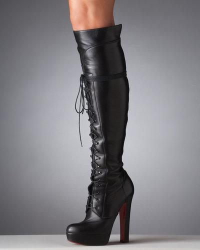 Christian Louboutin Nardja Lace-Up Platform Over-the-Knee Boot