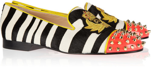 Christian Louboutin Intern studded calf hair and patent-leather slippers