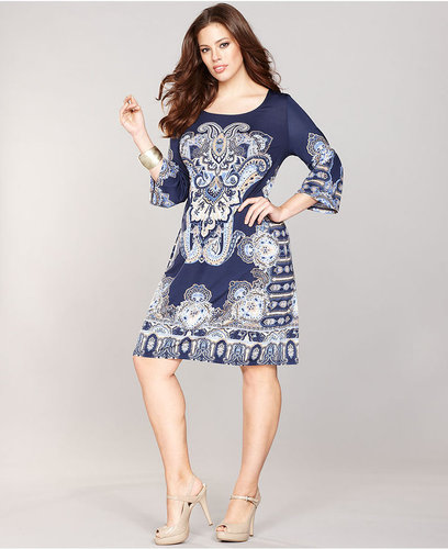 INC International Concepts Plus Size Dress, Bell-Sleeve Exotic-Print Shift