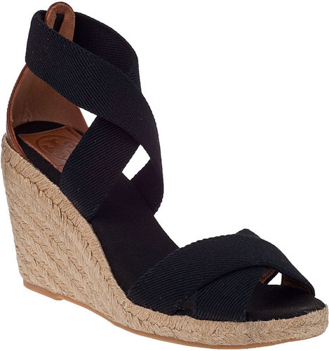 TORY BURCH Adonis Wedge Espadrille Black Fabric