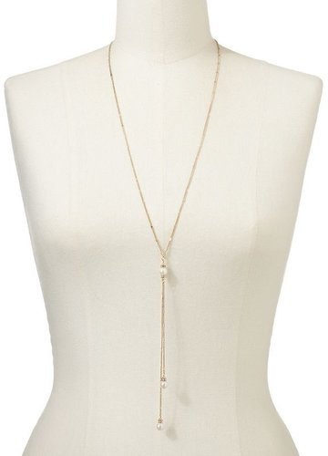 Lc lauren conrad gold tone simulated pearl and simulated crystal lariat necklace