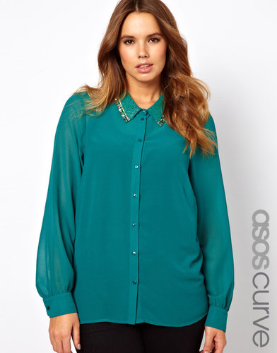 ASOS CURVE Blouse With Embellished Collar