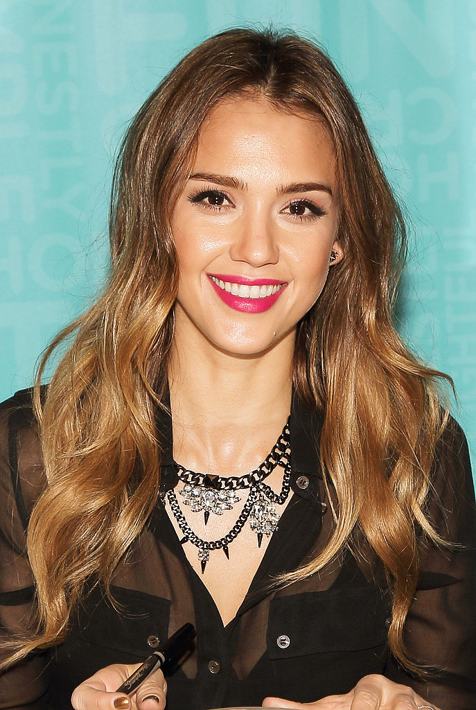 The easiest way to amp up your everyday look? Apply a bold lip colour à la Jessica Alba.