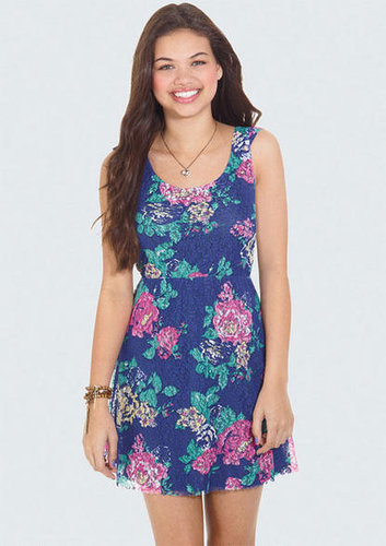 Printed Floral Lace Dress