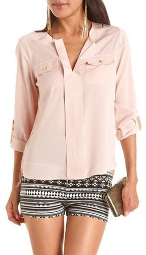 Roll-Cuff Hi-Low Utility Blouse