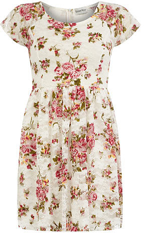 Cream floral print dress