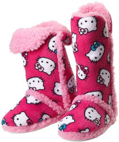 Hello Kitty Junior's Tall Sherpa-Trim Slipper Bootie