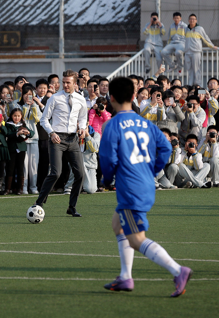 David Beckham Scrimmages With China's Youth and Celebrates His New Role