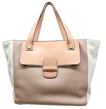 "Marc Jacobs ""C3123011"" Taupe Colorblock Leather Large Tote"