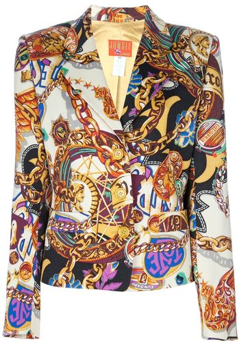 Kenzo Vintage scarf print skirt and jacket suit