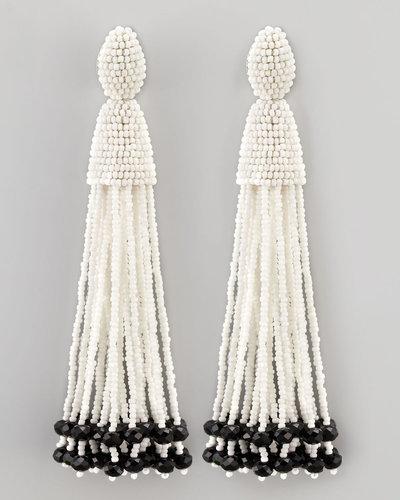 Oscar de la Renta Beaded Long Tassel Earrings, White/Black