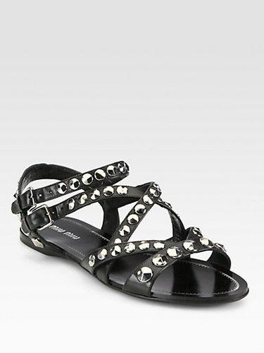 Miu Miu Studded Leather Sandals