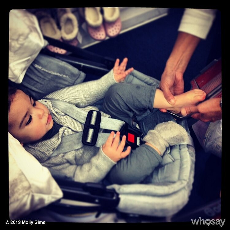 Little Brooks Stuber was fitted for a new pair of shoes in the shoe store. Source: Twitter user MollyBSims