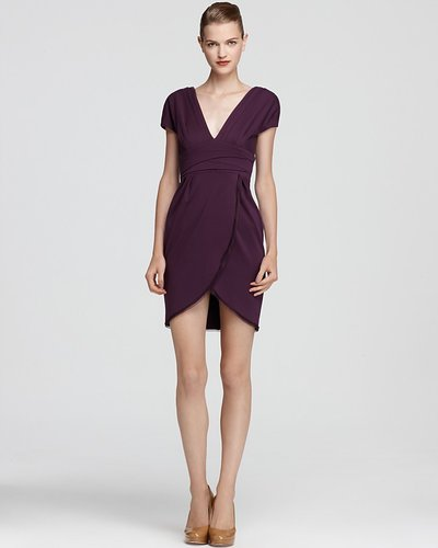 Z Spoke Zac Posen V Neck Dress - Cap Sleeve