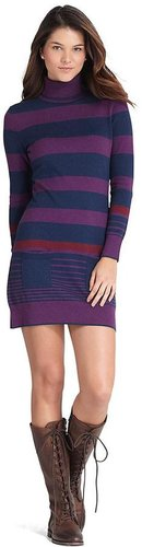 Cotton and Wool Stripe Turtleneck Dress