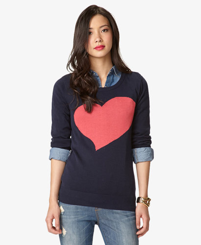 FOREVER 21 Essential Heart Crewneck Sweater