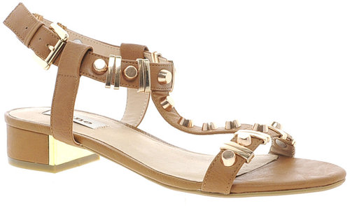 Dune Funkie Tan Mid Heeled Sandals