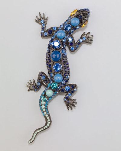 Lanvin Salamander Brooch, Blue