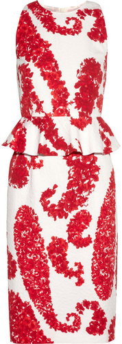 Giambattista Valli Printed cotton-blend brocade peplum dress