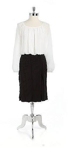 ADRIANNA PAPELL Contrast Blouson Dress