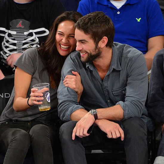 Chace Crawford at Knicks Game With Model