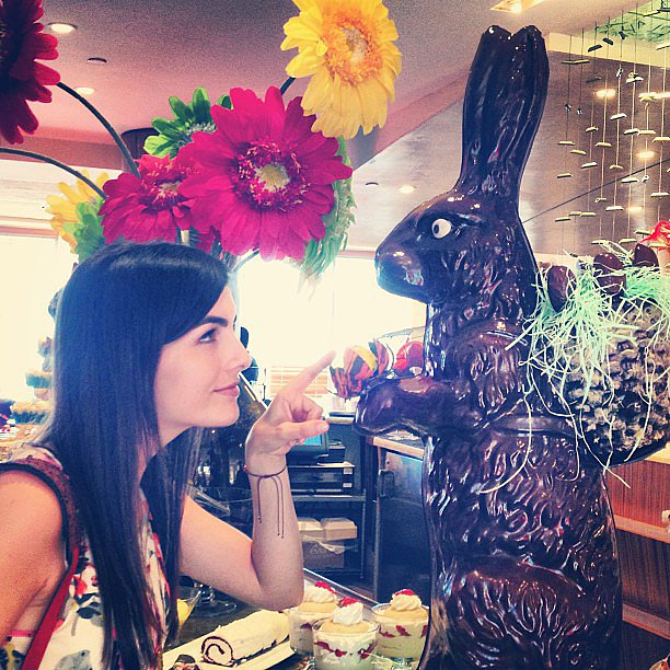Camilla Belle was tempted by a giant chocolate bunny.  Source: Instagram user camillabelle86