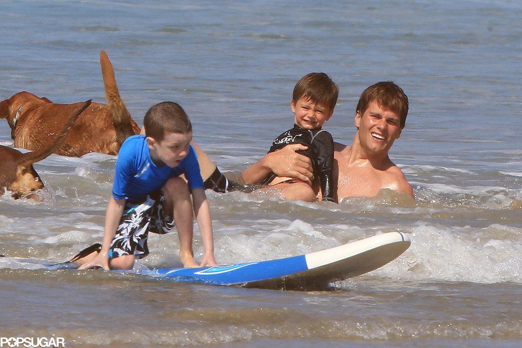Tom Brady splashed around with his sons.