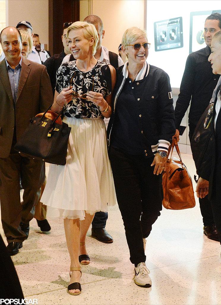 Ellen DeGeneres and Portia de Rossi walked through an airport in Australia.