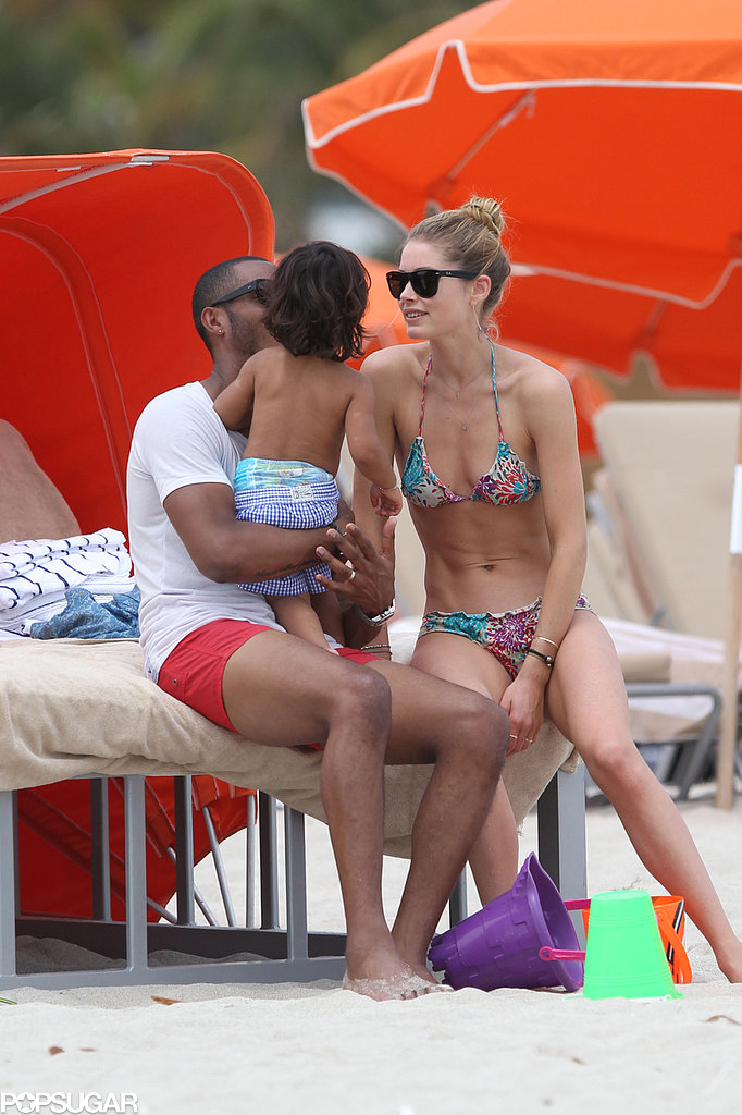Doutzen Kroes donned a bikini for a family beach day with husband Sunnery James and their son, Phyllon, in Miami.