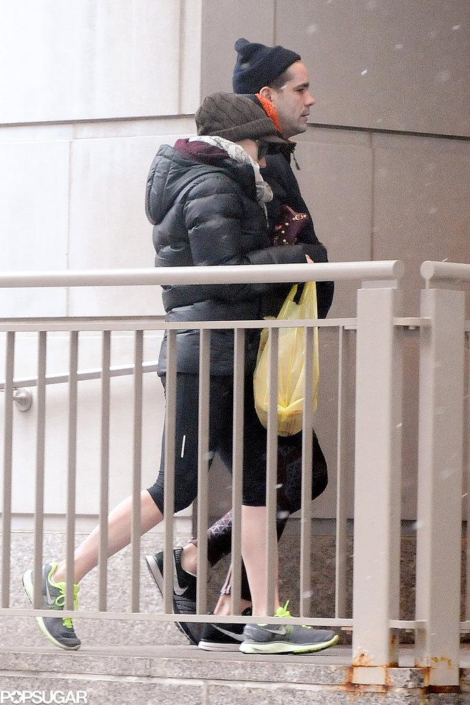 Scarlett Johansson Takes a Snowy City Stroll With Romain