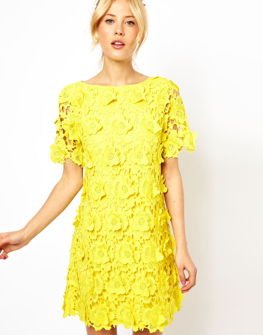 We love the texture of this ASOS yellow flower lace shift ...