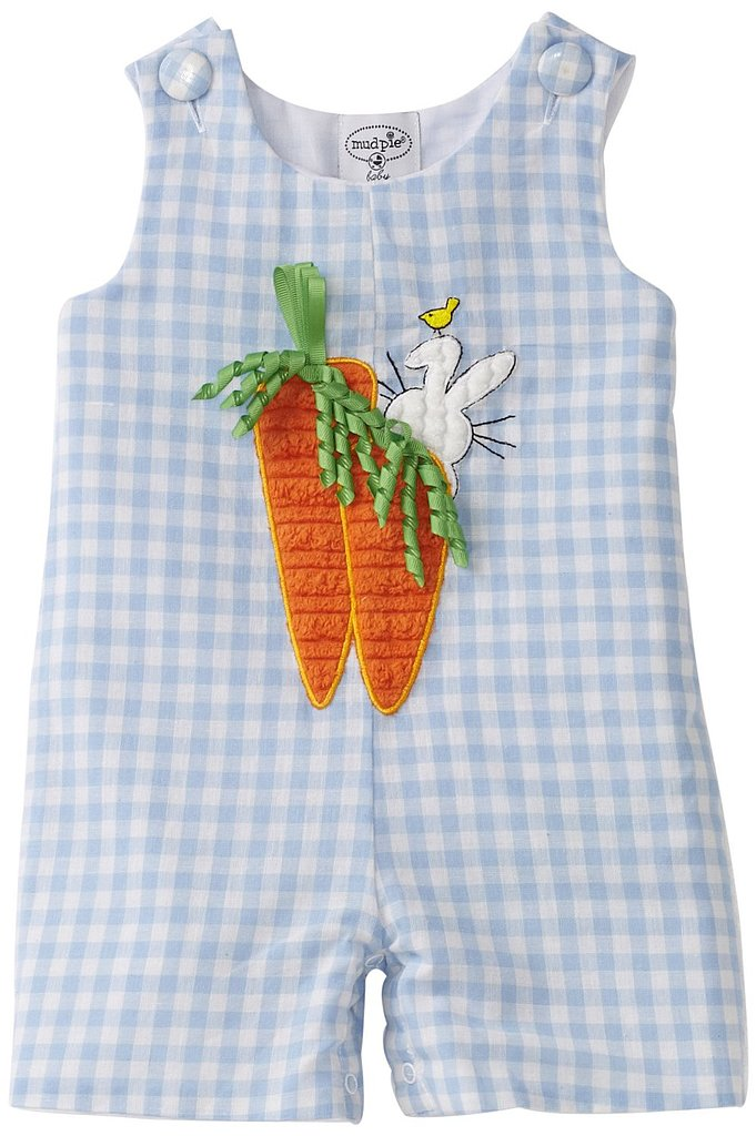 Your little guy will look adorable in the Newborn Carrot Shortall ($19-$35) from Mud Pie.
