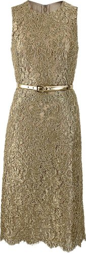 MICHAEL KORS Sleeveless Metallic Lace Belted Dress