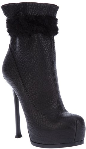 Yves Saint Laurent shearling detail ankle boot