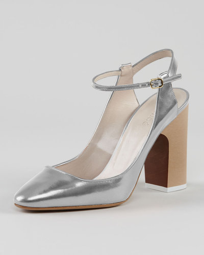 Chloe Metallic Leather Ankle-Strap Pump