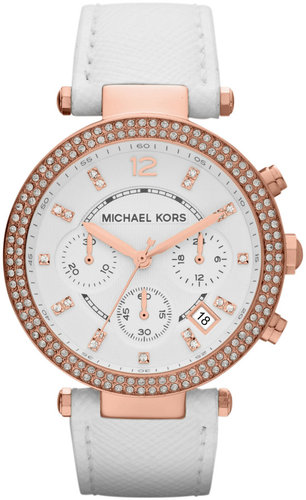 Michael Kors  Mid-Size White Leather Parker Chronograph Glitz Watch