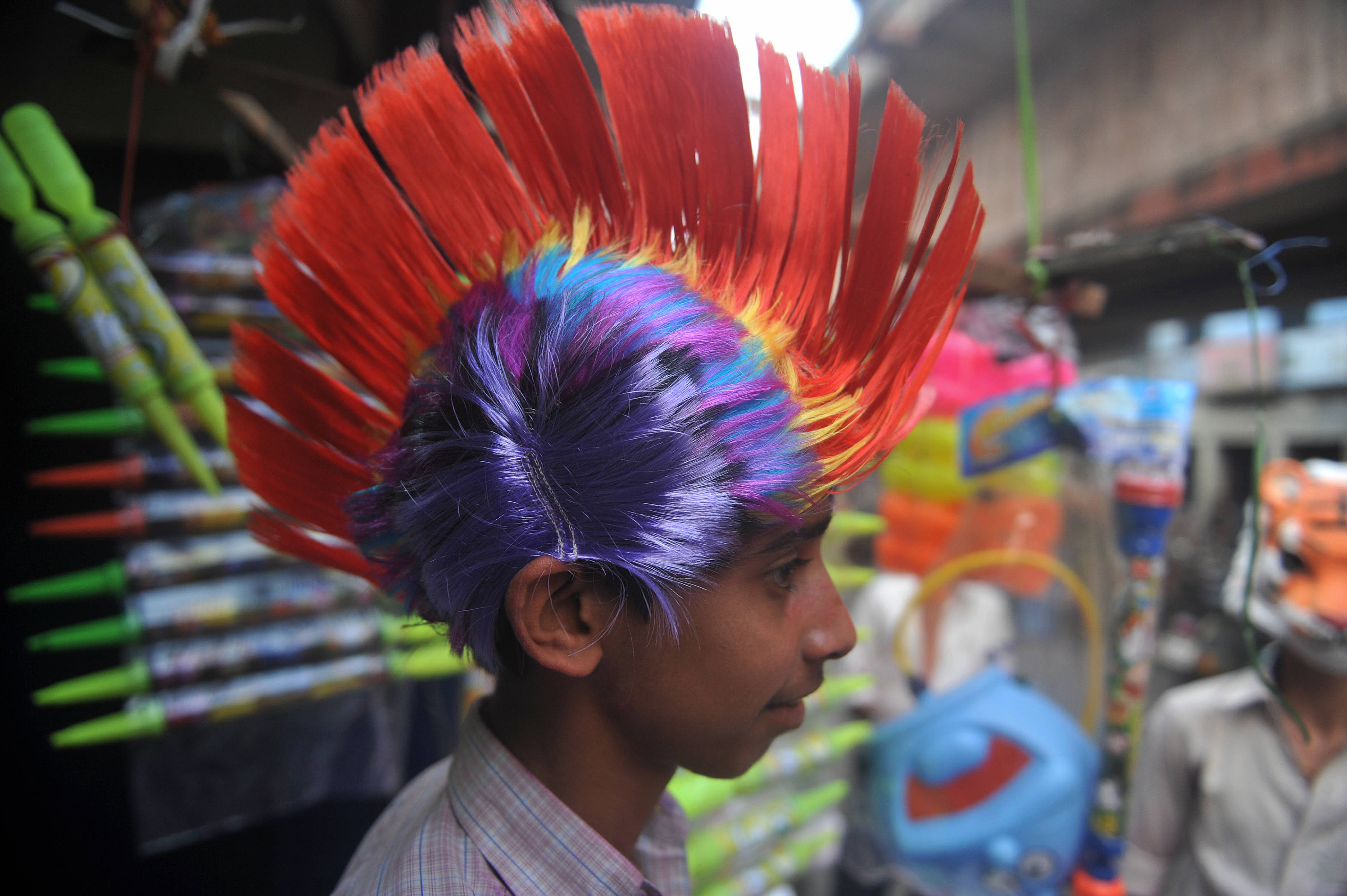 A Street Vendor Sold Masks And Caps For The Celebration Of Holi In Holi Festival Celebrates